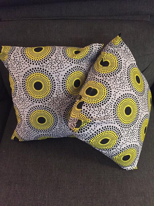 housse de coussin accessoire tissu africain boubou décoration ameublement coton pagne lavable en machine grain de sable