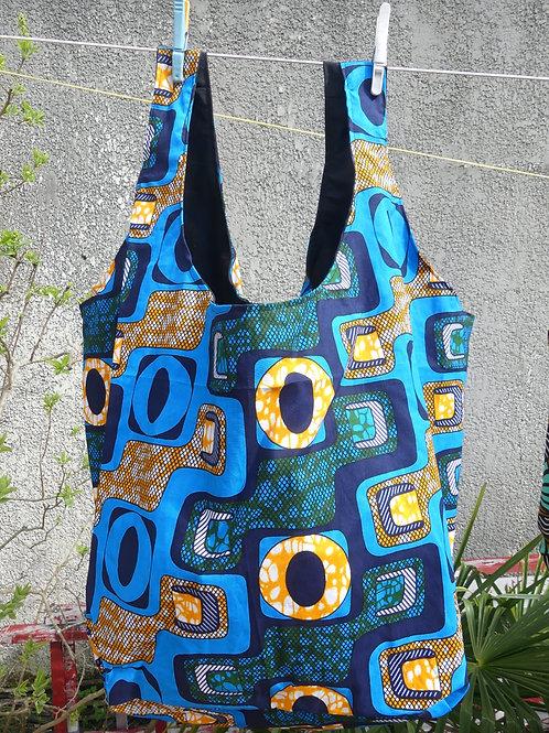 sac plage fourre tout wax afrique femme cadeau bleu jaune vert