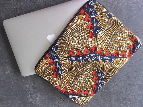 Housse ordinateur portable bleue rouge ocre