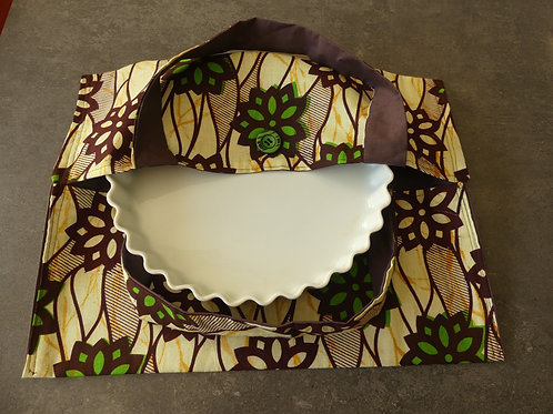 sac à tarte wax tissu africain coton pagne boubou fleurs vertes
