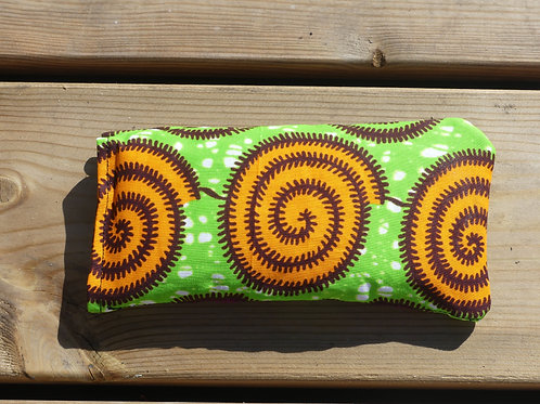 étui à lunettes wax pochette portable tissu africain spirale jaune ecargot