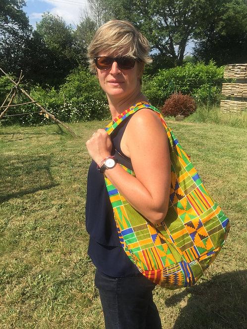 sac de plage wax africain coton fourre vacances tout coloré bénin Yovo boubou jaune multicolors