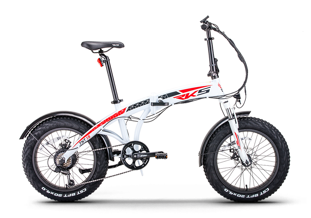 BOGGe electric folding bike RKS TNT 15 white in frame built li-ion battery