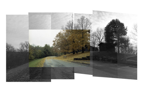 Composited image consisting of one scanned film image and four digital images