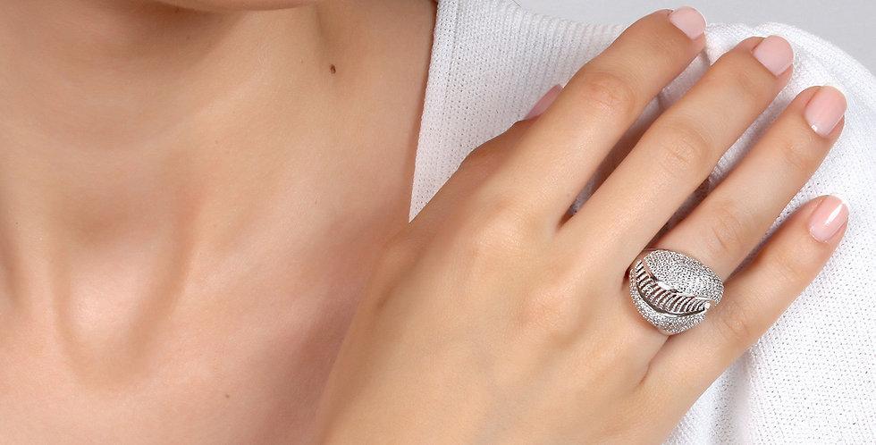 Gümüş Montür Üzeri Kristal Taşlı Yüzük