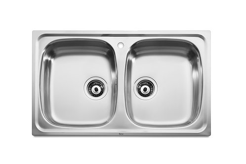 J 800x490x155 Stainless steel double bowl kitchen sink