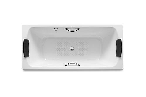 Lun 1700x750x440 Rectangular steel bath with anti-slip base and grips