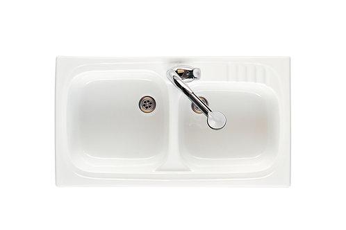 Leman 900x500x180 Fireclay double bowl kitchen sink