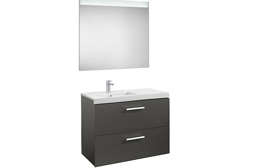 Prisma 900x460x667 Pack (2drawers, left hand basin and LED mirror)