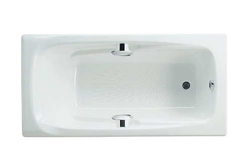 Ming 1700x850x420 Rectangular cast iron bath with anti-slip base and grips