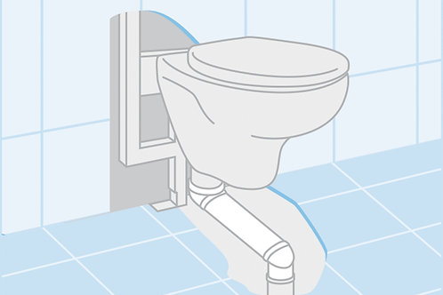 In-Wall Offset elbow to adapt wall-hung toilets