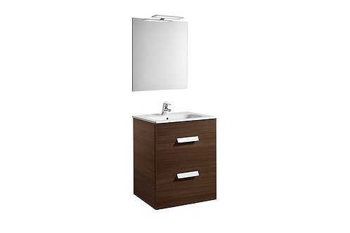 Debba 600x460x720 Pack (2 drawers, basin, mirror and LED spotlight)