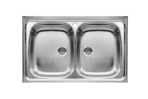E 900x500x155 Stainless steel double bowl