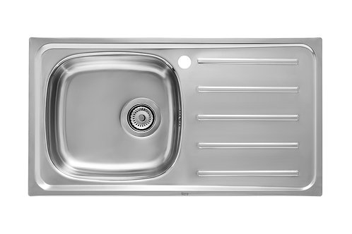 E 900x500x155 Stainless steel single bowl and right drainer