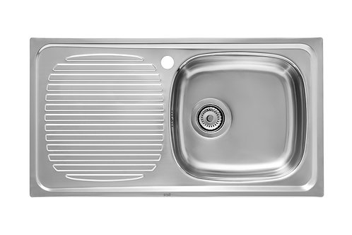 J 800x435x155 Stainless steel single bowl  and left drainer