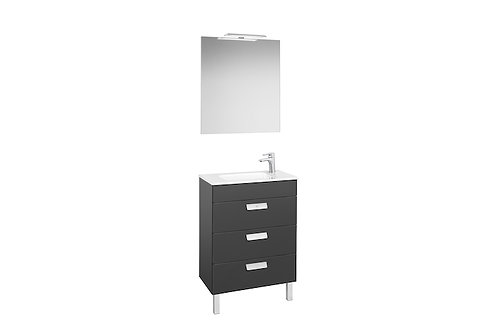 Debba 505x360x721 Pack (3 drawers, basin, mirror and LED spotlight)