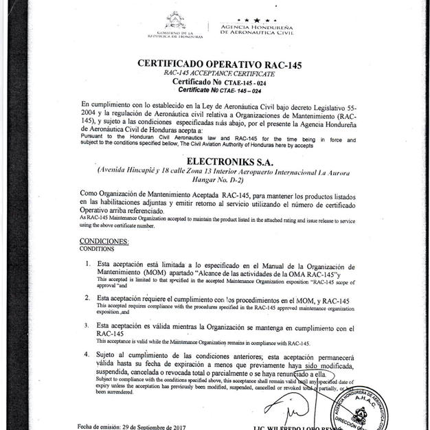 Certificado Operativo RAC 145