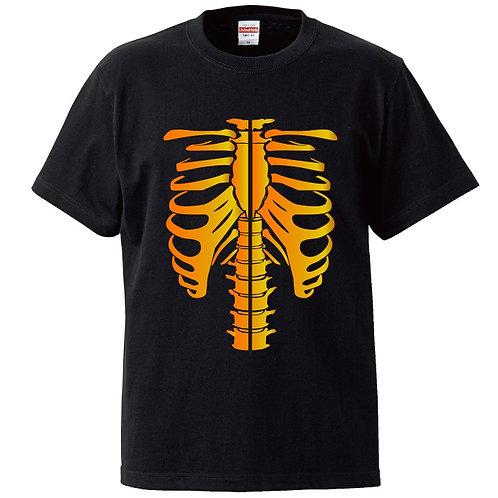 [OMOROTOY.Lab]ボーンTシャツ-ブラック/オレンジ