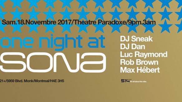 SORTIE : ONE NIGHT AT SONA - Pour danser jusqu'aux petites heures du matin le 18 novembre à Mont