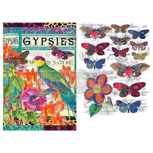 Dekor Transferfolie Boho Bird Butterfly
