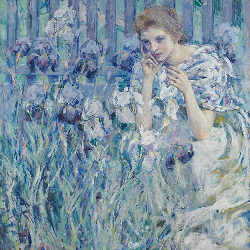 Woman with  lillies