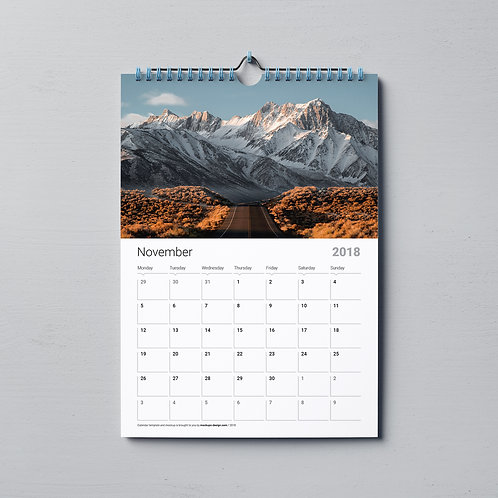 11x8.5 28 Page Wall Calendar w/ Spiral Binding