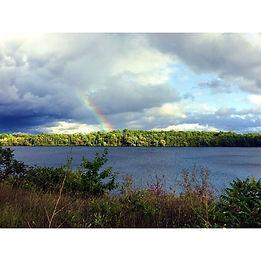 lake, trees, and rainbow