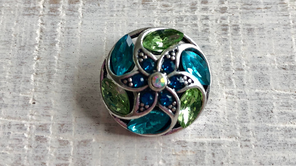 Star Flower turquoise/lime green