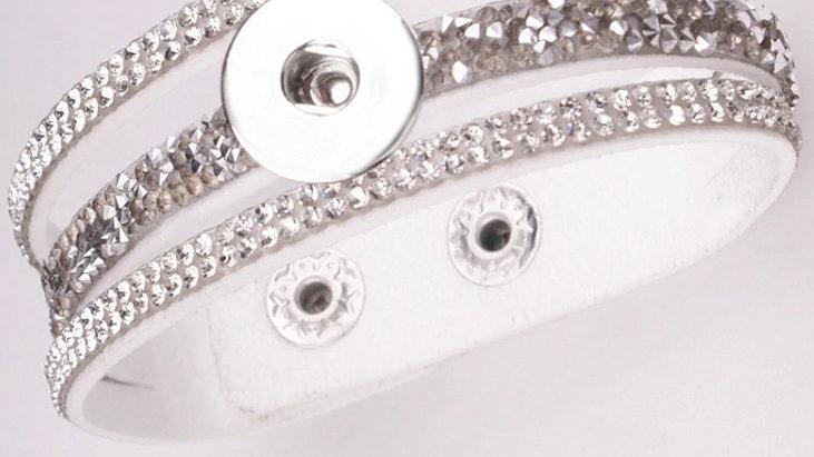 White leather/Stone Bracelet
