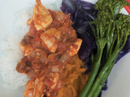Moroccan Chicken Curry with Garlic, Pumpkin & Sweet Potato Mash