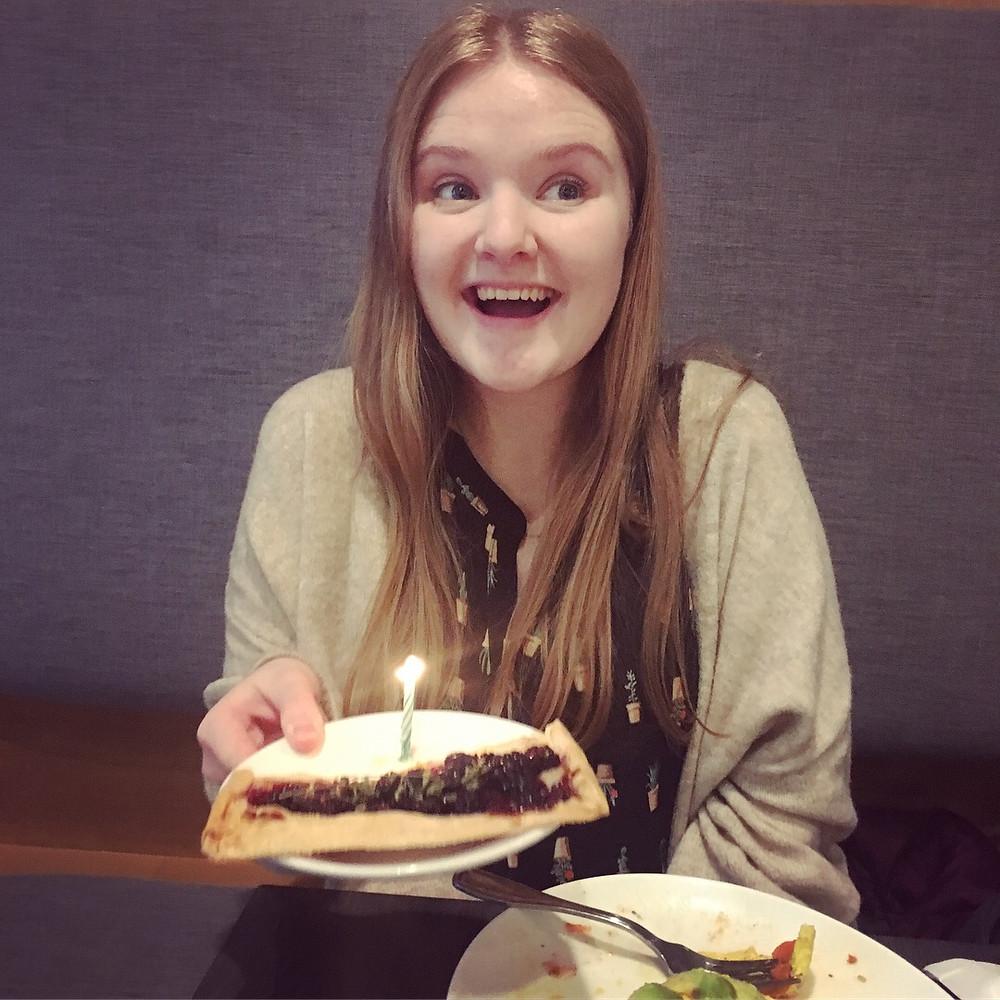 My girlfriend with her vegan birthday tart
