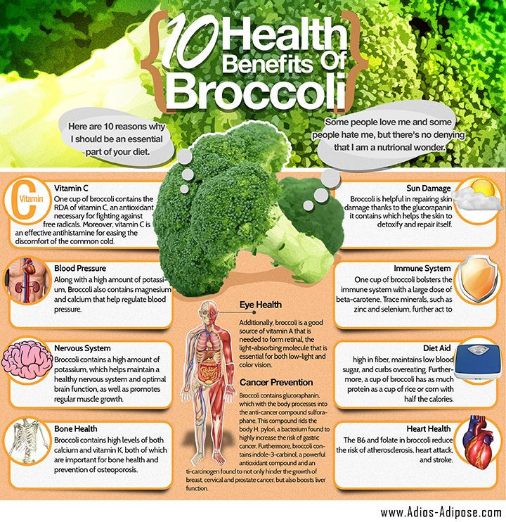 Click to enlarge for Broccoli Health Benefits