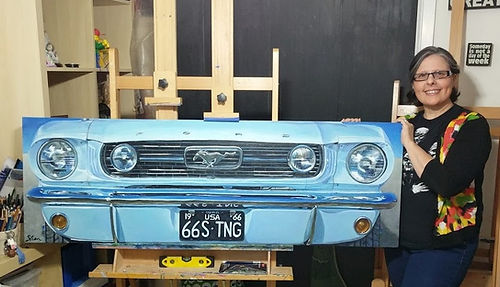1966 Arctic Blue Ford Mustang and Shan in Studio