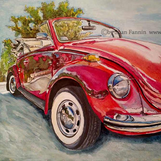 VW Beetle - watercolor
