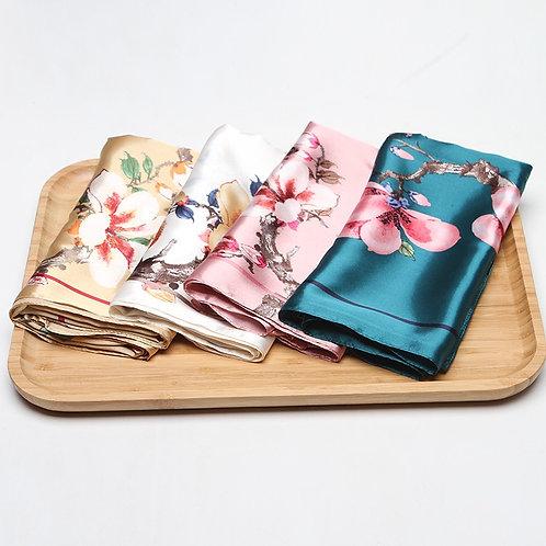 Floral Print Kerchief Silk Satin.