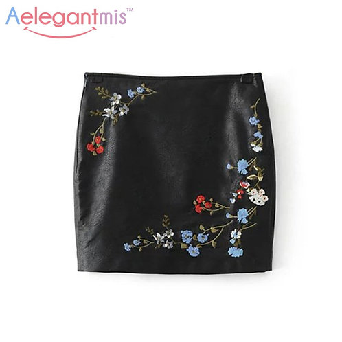 Black Embroidery PU Leather Flower Embroidered Skirt.
