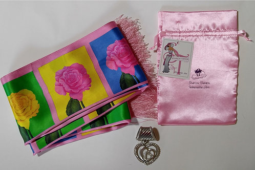 Silk Scarf | Rose Boxes | Printed | Satin Scarf With Fringe