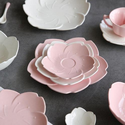 Pink Kitchen Tableware Plates Flower Shape