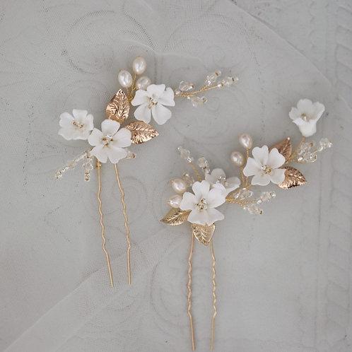 Gold Leaf Hair Pins Bridal Clips Porcelain Flower Wedding Headpiece Handmade