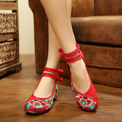 Shoes Embroidery Mary Jane Fabric Flats Traditional .