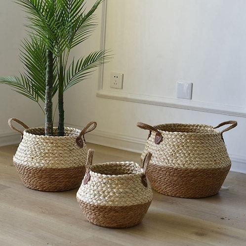 Foldable Natural Flower Pot Seagrass Wicker Basket.