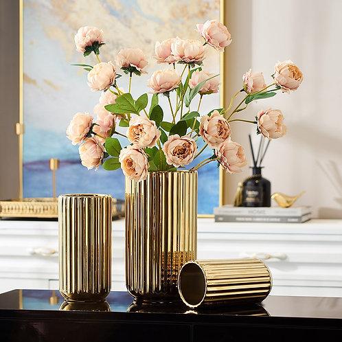 Golden Ceramic Vases for Decoration.