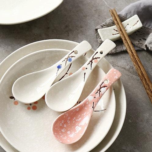 Hand painting Plum Ceramic Spoon.