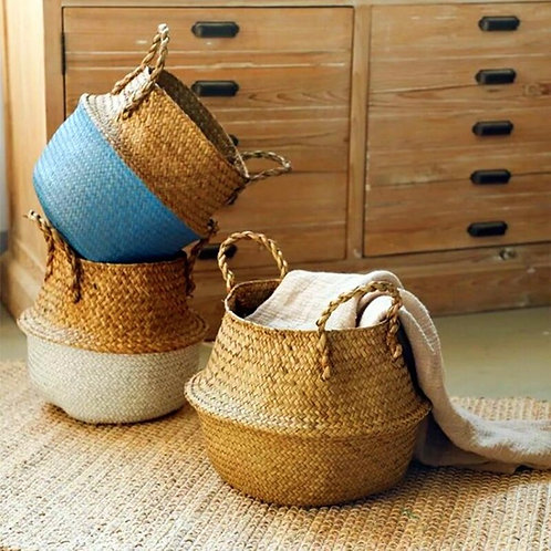 Natural Seagrass Belly Baskets.