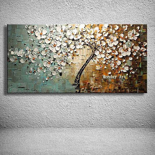 Hand Painted Flowers Oil Painting on Canvas Handmade