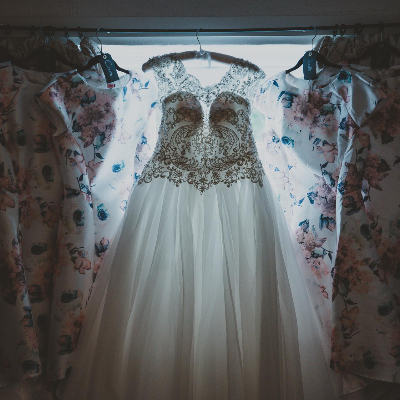 Fay Wedding - Thursford Collection at the Garden Pavilion, Norfolk. Wedding Dress