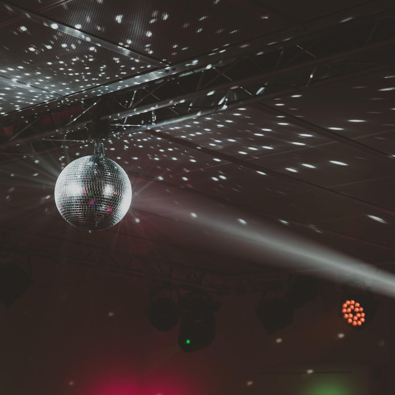 Fay Wedding - Thursford Collection at the Garden Pavilion, Norfolk. Disco Ball