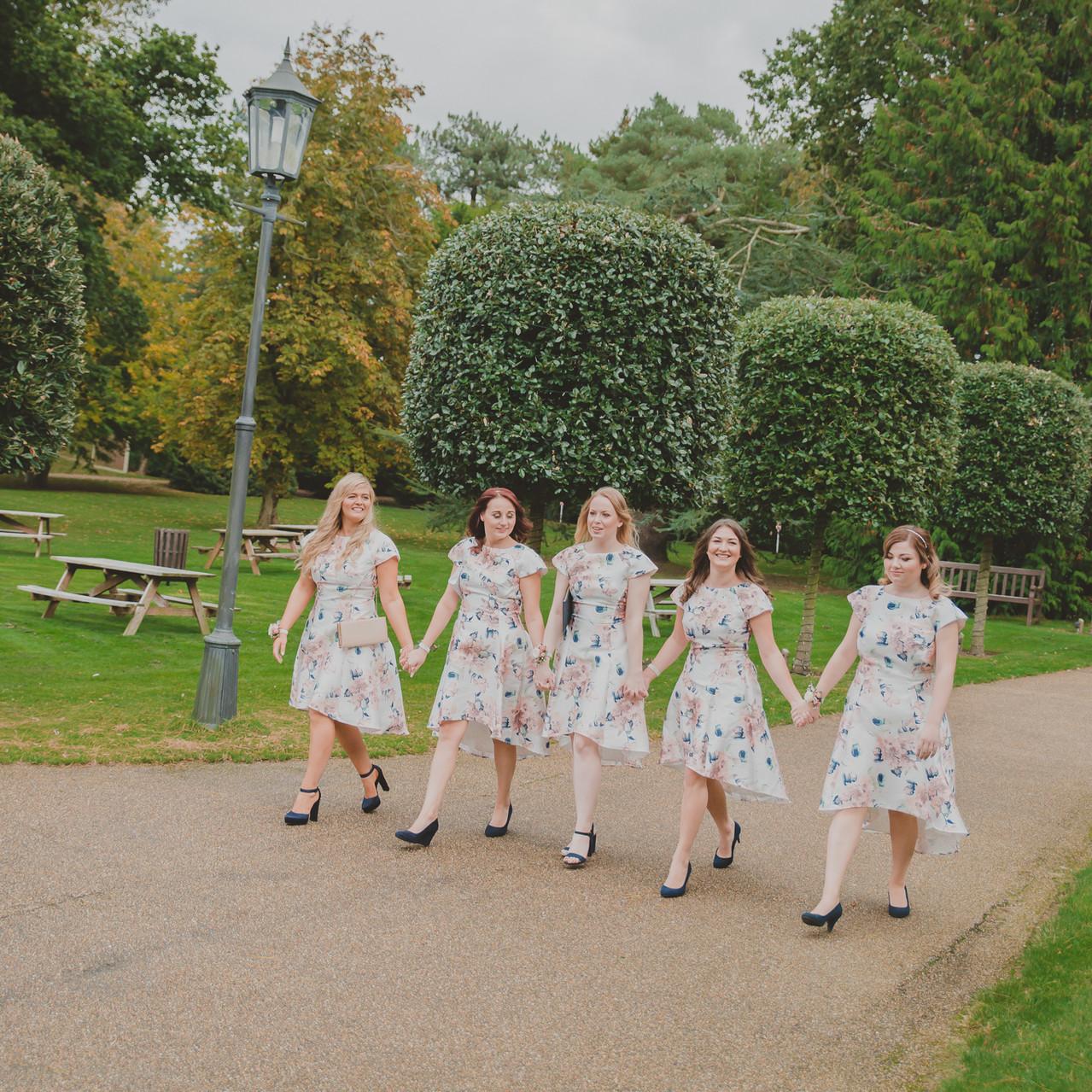 Fay Wedding - Thursford Collection at the Garden Pavilion, Norfolk. Walking Bridesmaids
