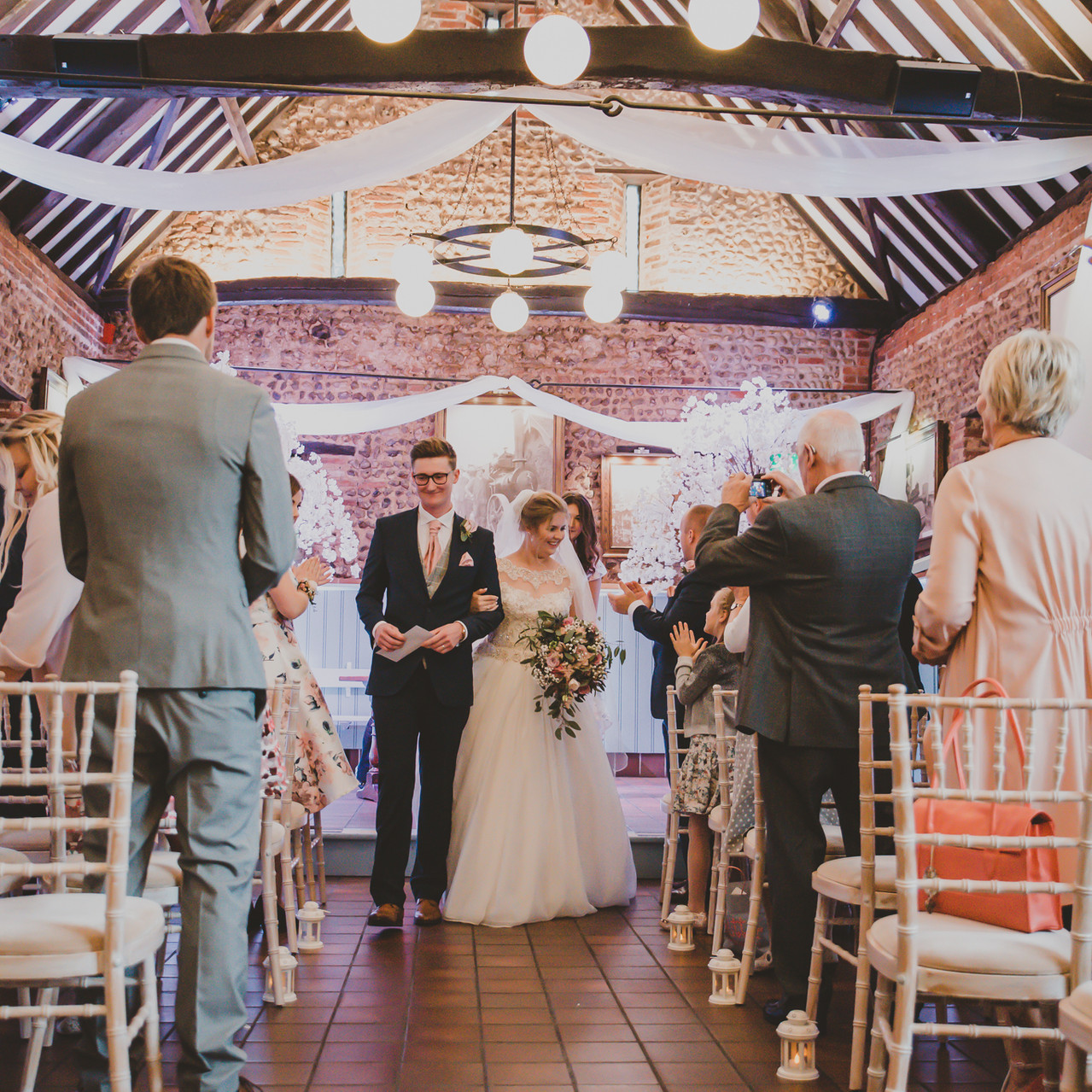 Fay Wedding - Thursford Collection at the Garden Pavilion, Norfolk. Walking down the aisle