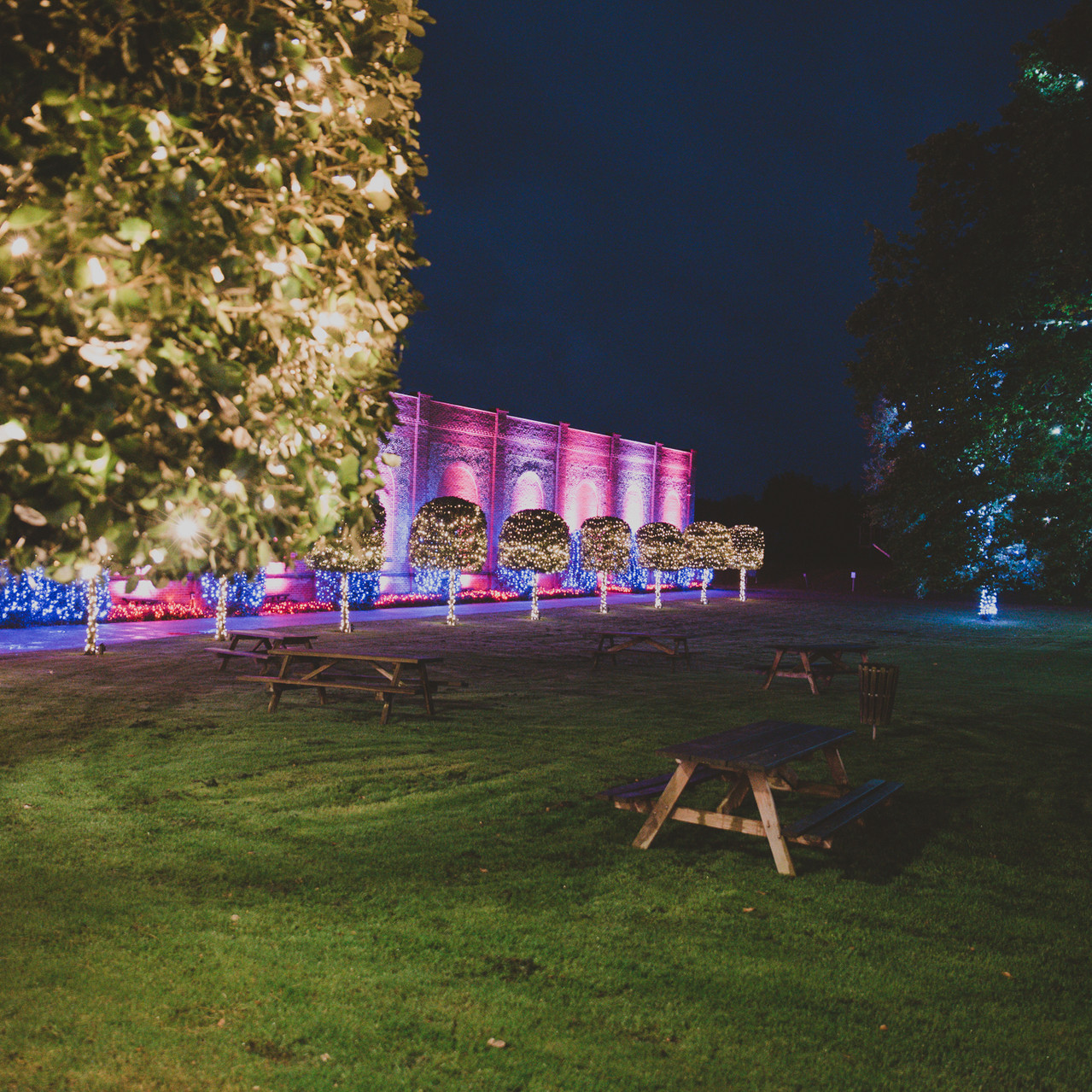 Fay Wedding - Thursford Collection at the Garden Pavilion, Norfolk. at night